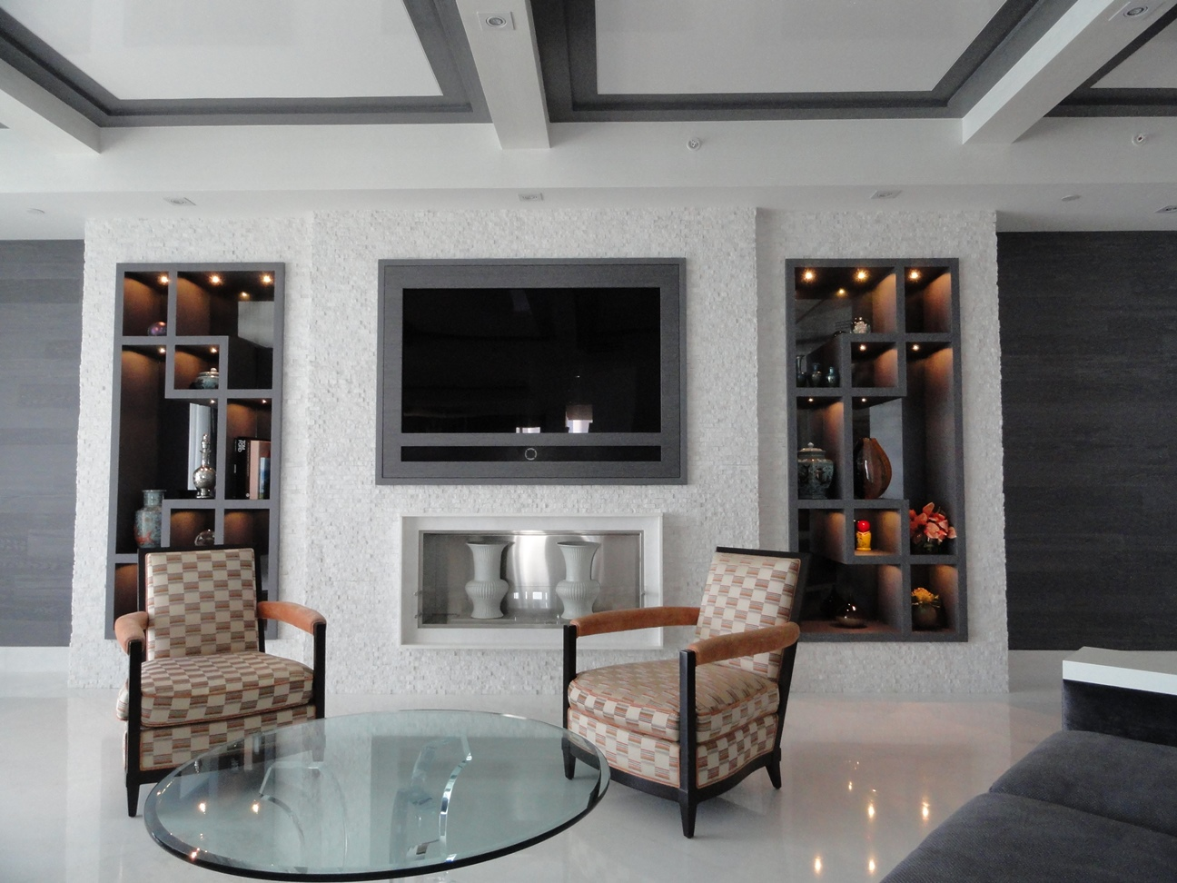Built in media center and coffered ceiling
