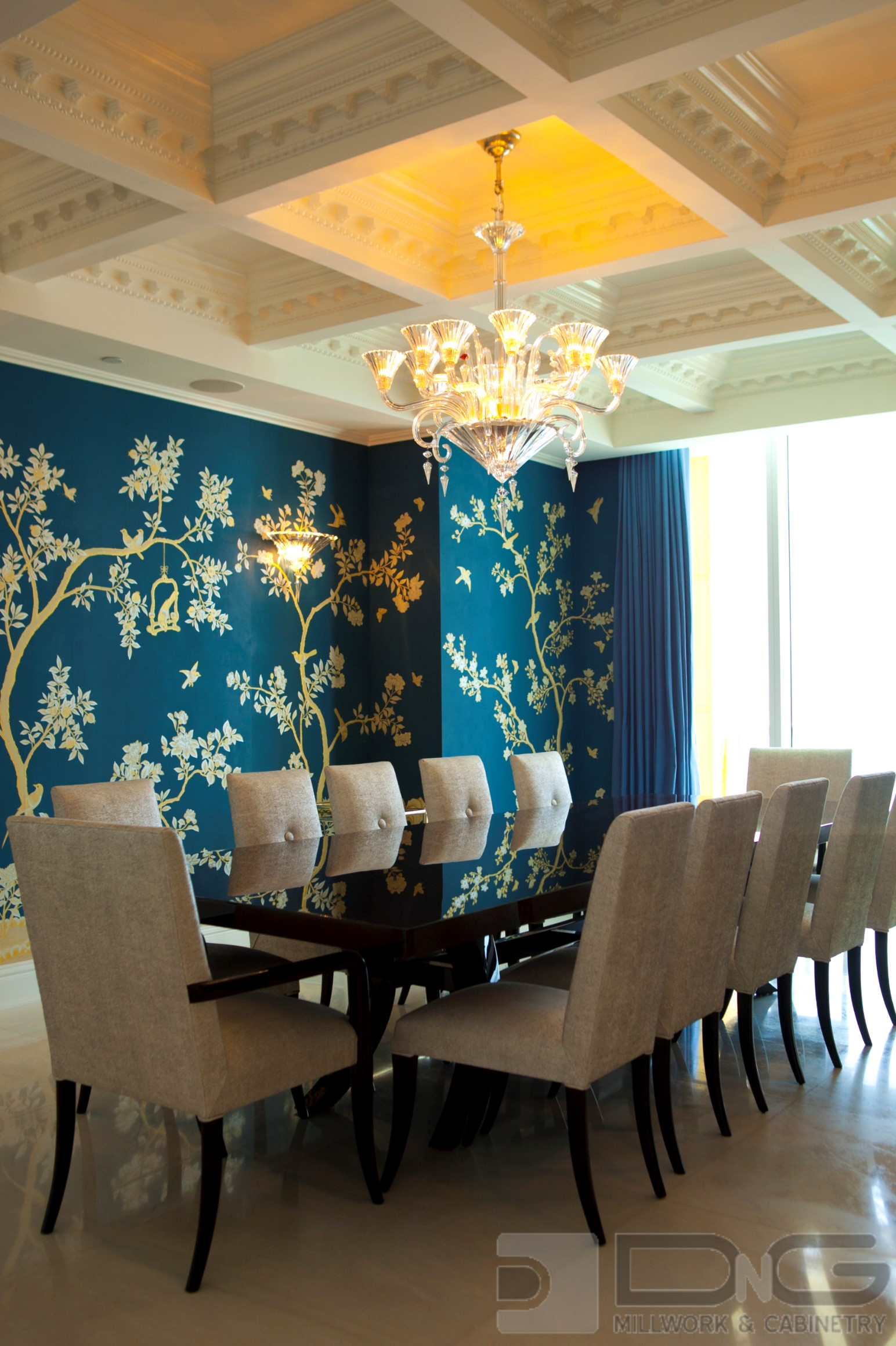Elaborate Coffered Ceiling with Crown Molding