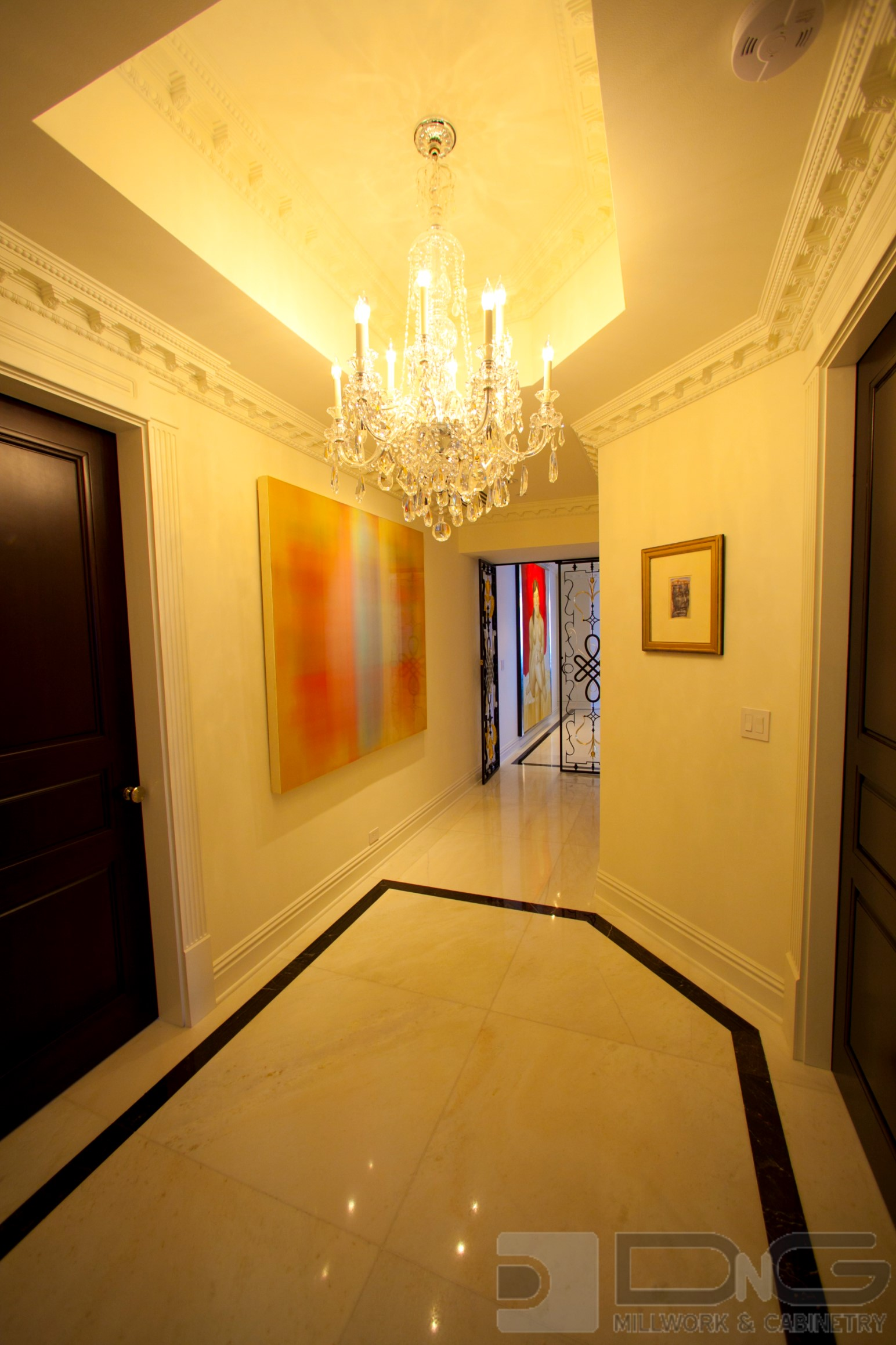 Entry Hall Tray Ceiling with Crown Molding