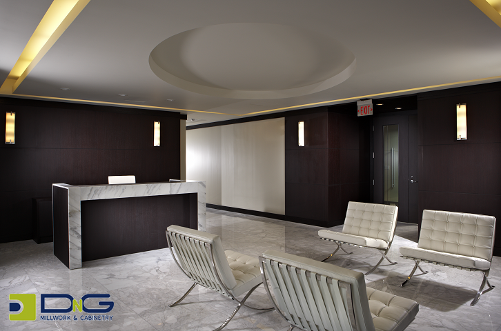 maxwell office - dark wood paneled walls and modern finishes